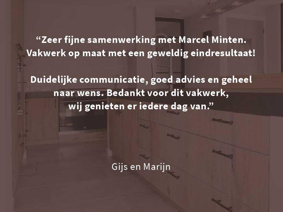 Minten fijn timmerwerk Meterik | portfolio koken - review Gijs en Marijn